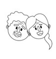 line old couple face with hairstyle vector image vector image