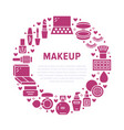 makeup beauty care red circle poster with flat vector image