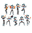 male skeletons in mexican national costumes and vector image vector image