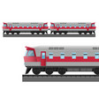 modern train with solid metal corpus drives on vector image