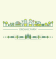 organic farm line icons header and footer vector image vector image