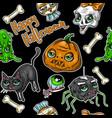 pattern of halloween element patches pumpkin vector image vector image