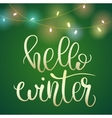 phrase hello winter on green christmas background vector image vector image