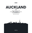 poster city skyline auckland flat style vector image vector image