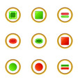 red and green switch icons set cartoon style vector image