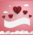 red balloons with white paper banner cloud and vector image