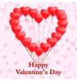 Red heart shaped balloons on pink background vector image vector image