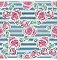 rose pink flower hand drawn strips pattern vector image