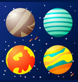 set fantasy planets in space vector image
