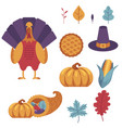 set flat thanksgiving symbols isolated vector image vector image