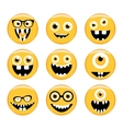 Set of Emoticons Emoji Monster faces in glasses vector image