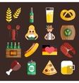 Set of flat Oktoberfest icons Bottle Beer vector image