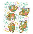 sloth bear animal characters in floral ornament vector image vector image
