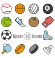 sport set of 14 icons in a flat style vector image vector image