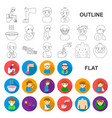 the sick man flat icons in set collection for vector image vector image