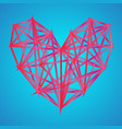 triangle heart icon neon polygon trend background vector image