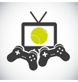 tv game control ball and racket icon Tennis vector image