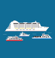 white big and small vessels in sea vector image vector image