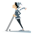 young skier woman isolated vector image vector image