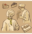 Cook and piece of Cake Set vintage symbols vector image