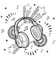 doodle pop headphones audio music vector image