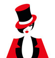 a cabaret girl with red hat vector image vector image
