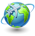 airplane flying the earth vector image vector image