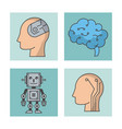 artificial intelligence technology icons vector image