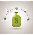 bag money dollar shop vector image