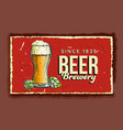 beer glass cup brewery advertising poster vector image