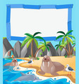 border template with sea animals on the beach vector image