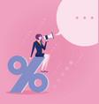 businesswoman shouting in megaphone concept vector image vector image