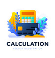 calculator and credit card stock isolated on a vector image vector image