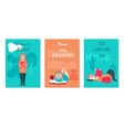 card set with young woman reading book vector image vector image