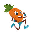 cartoon carrot funny vegetable doing fitness vector image vector image