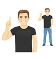 casual man pointing up vector image