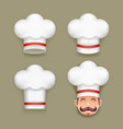 chief cook toque cuisine realistic hat design vector image