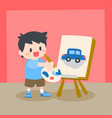 children little boy painting on canvas vector image