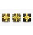 christmas gift box present golden ribbon bow vector image vector image