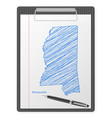clipboard mississippi map vector image vector image