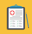 clipboard with medical cross and pen clinical vector image vector image