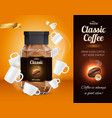 coffee advertisement realistic composition vector image vector image