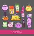 collection of cosmetics nail polish lipstick vector image
