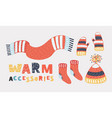 collection of warm clothing accessories vector image