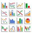 color diagram and graphs related icons set vector image vector image