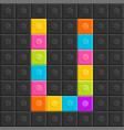 colorful brick block letter u flat design vector image vector image