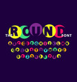 colorful round font on dark purple vector image vector image