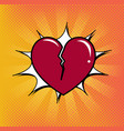comic heart love cartoon explosion vector image vector image
