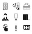 computer scientist icons set simple style vector image vector image