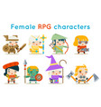cute female rpg characters fantasy game isolated vector image vector image